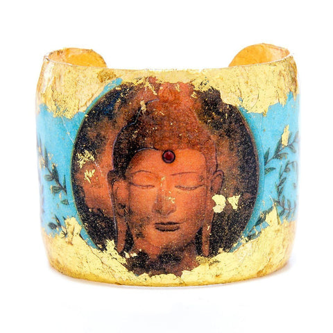 "Buddha Blue 2"" Gold Cuff - SL106-Evocateur-Renee Taylor Gallery"