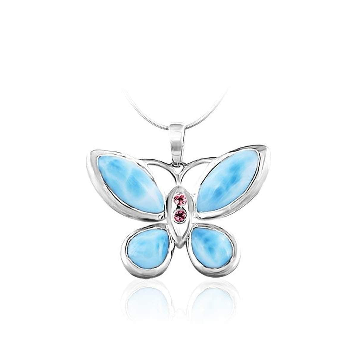 Butterfly Pink Sapphire Necklace - Nbutt01-ch-Marahlago Larimar-Renee Taylor Gallery