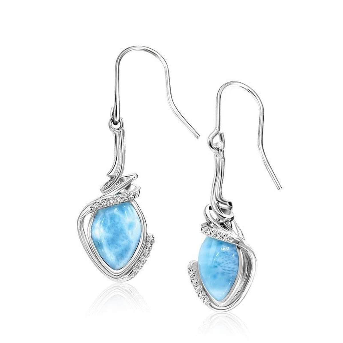 Calypso White Sapphire Earrings - Ecaly00-00-Marahlago Larimar-Renee Taylor Gallery