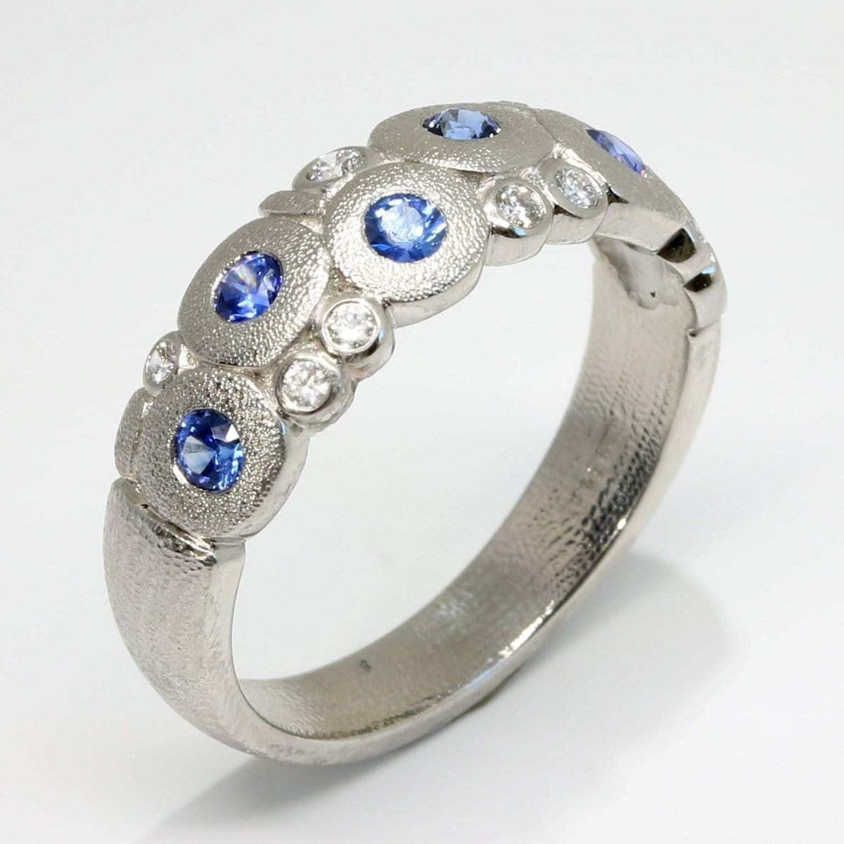 Platinum Candy Blue Sapphire & Diamond Dome Ring - R-122PS