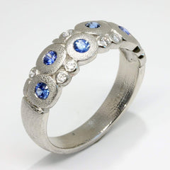 Platinum Candy Blue Sapphire & Diamond Dome Ring - R-122PS-Alex Sepkus-Renee Taylor Gallery