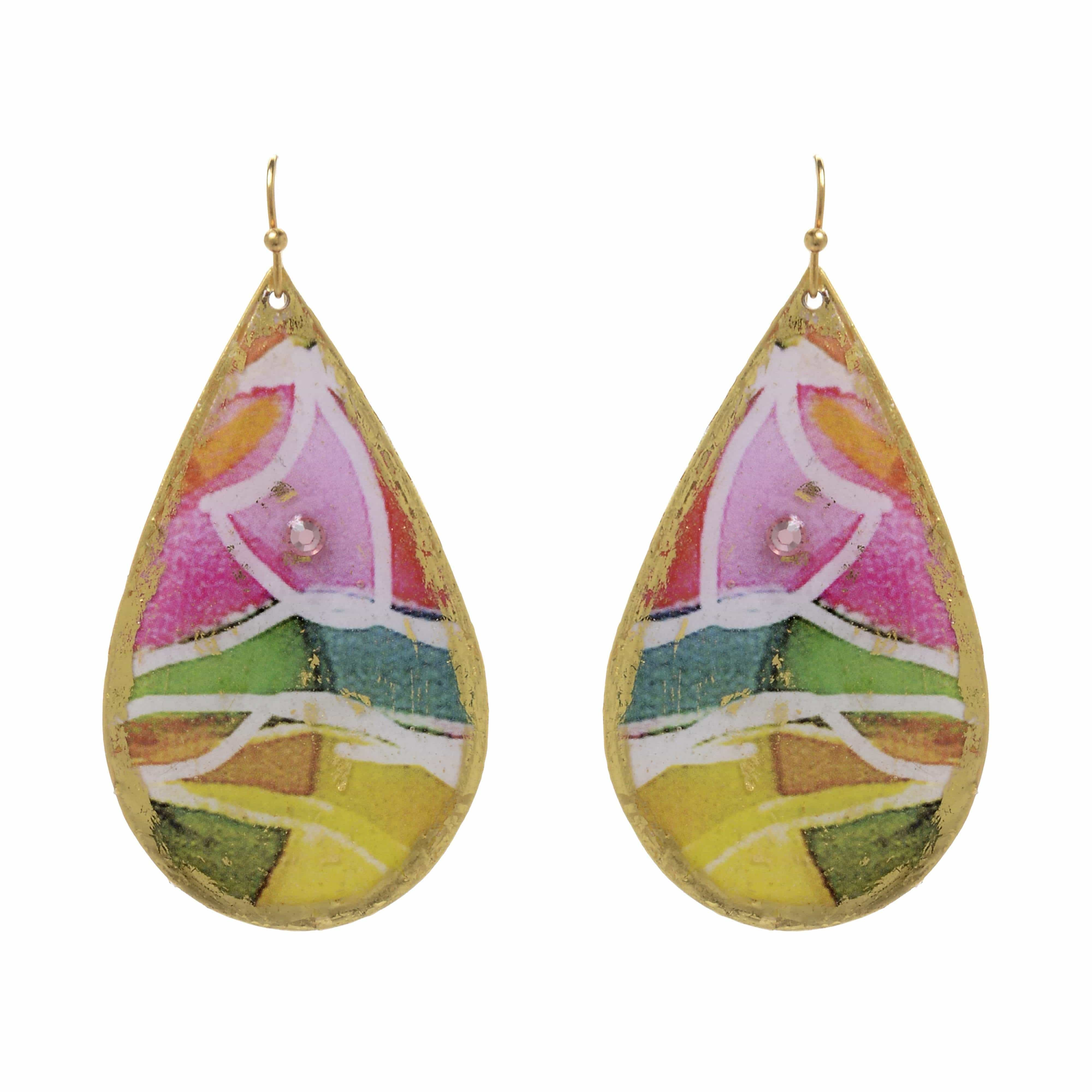 Charleston Gold Teardrop Earrings - MG422-Evocateur-Renee Taylor Gallery