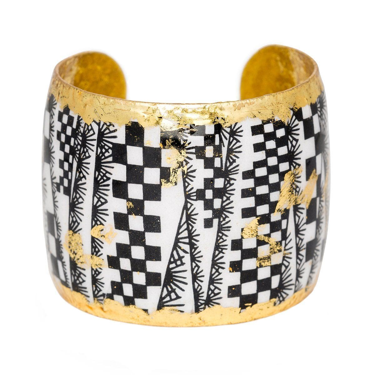 "Checkers 2"" Gold Cuff - BW107-Evocateur-Renee Taylor Gallery"