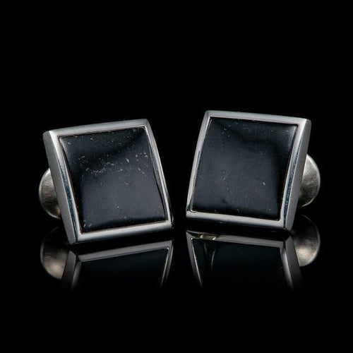 Men's Black Jade Duo Cufflinks - CL BLK J-William Henry-Renee Taylor Gallery