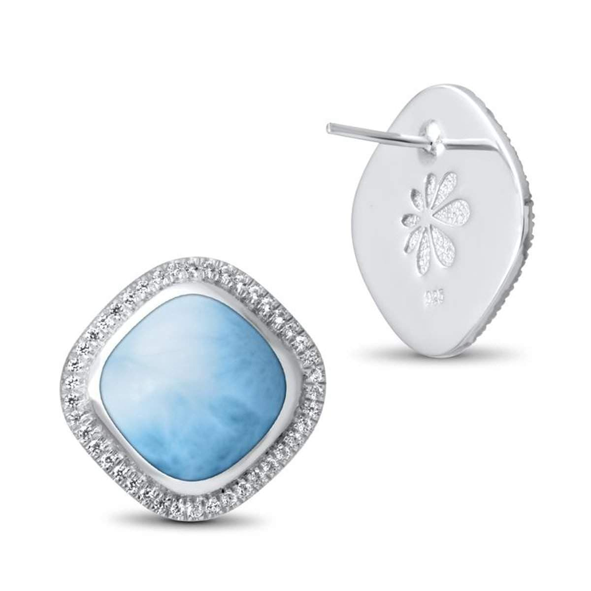 Clarity Cushion White Sapphire Earrings - Eclar01-00-Marahlago Larimar-Renee Taylor Gallery