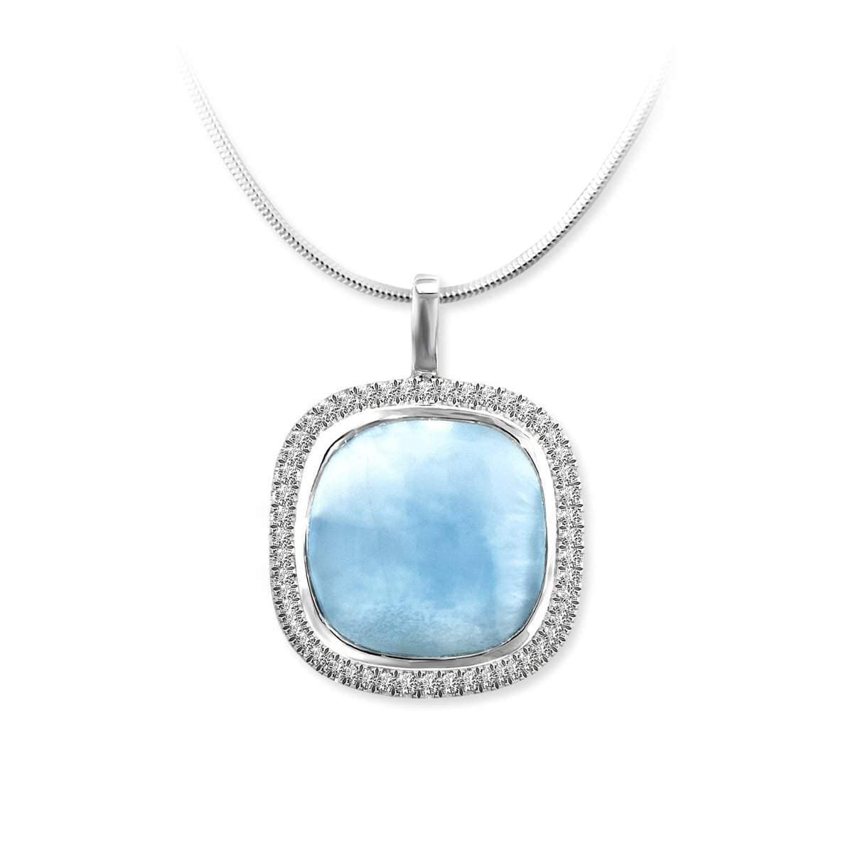 Clarity Cushion White Sapphire Necklace - Nclar01-00-Marahlago Larimar-Renee Taylor Gallery