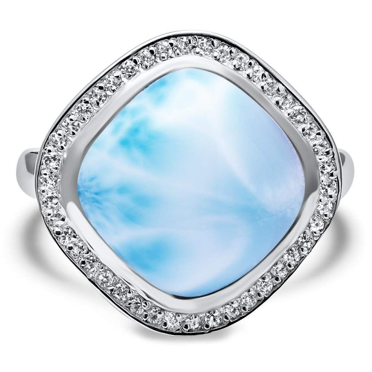 Clarity Cushion White Sapphire Ring - Rclar01-00-Marahlago Larimar-Renee Taylor Gallery