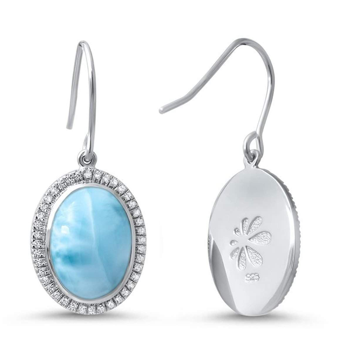 Clarity Oval White Sapphire Earrings - Eclar00-00-Marahlago Larimar-Renee Taylor Gallery