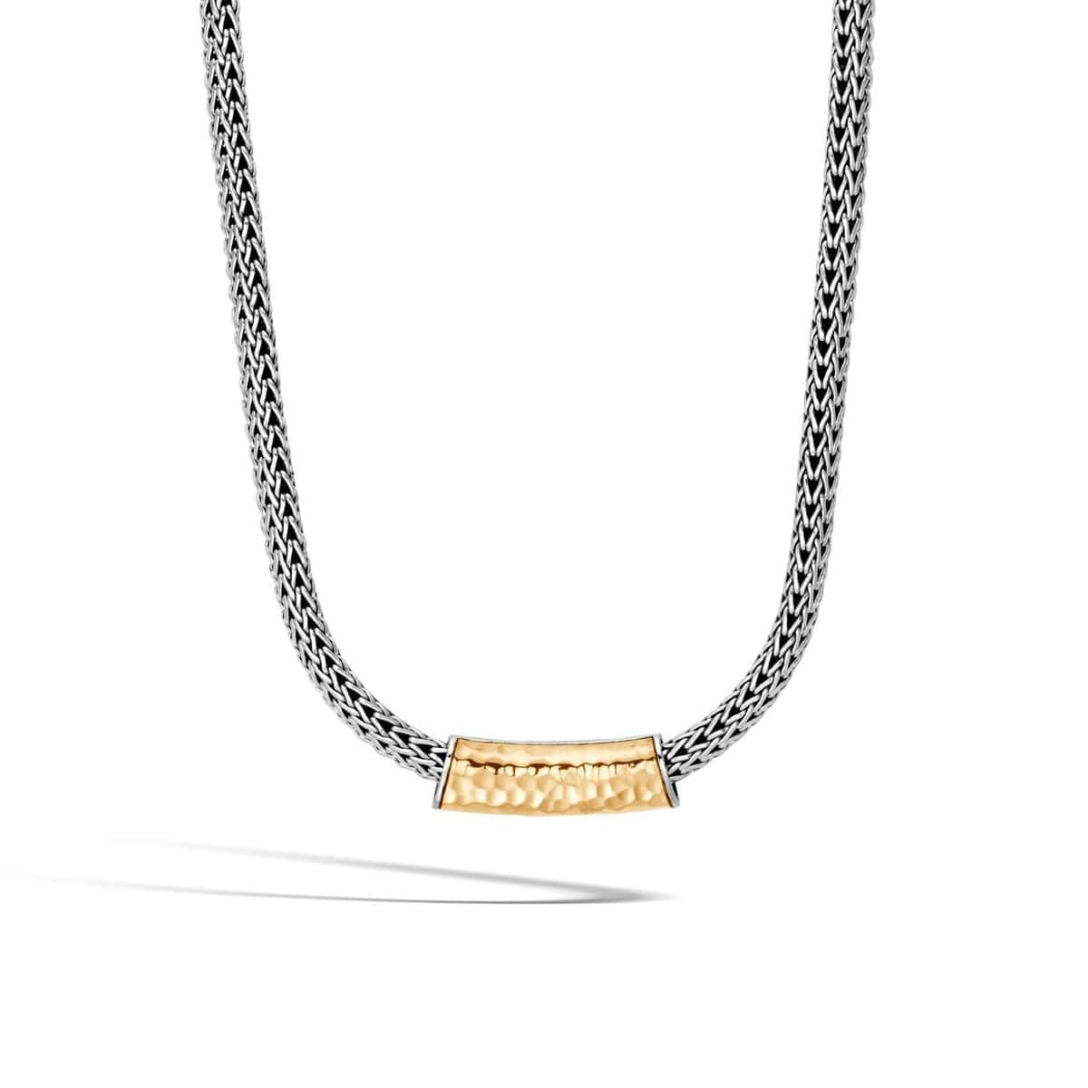 Classic Chain Hammered 18k Gold & Silver Pendant - HZ95152-John Hardy-Renee Taylor Gallery