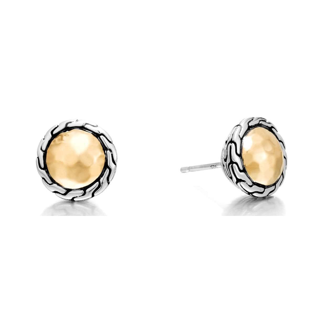 Classic Chain Hammered Gold Silver Stud Earrings - EZ97176-John Hardy-Renee Taylor Gallery