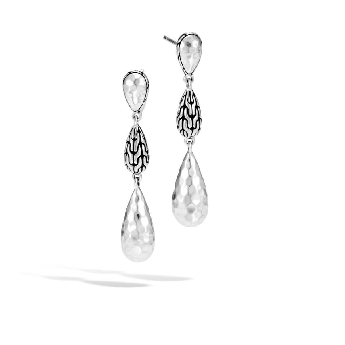 Classic Chain Hammered Silver Long Drop Earrings - EB94547-John Hardy-Renee Taylor Gallery