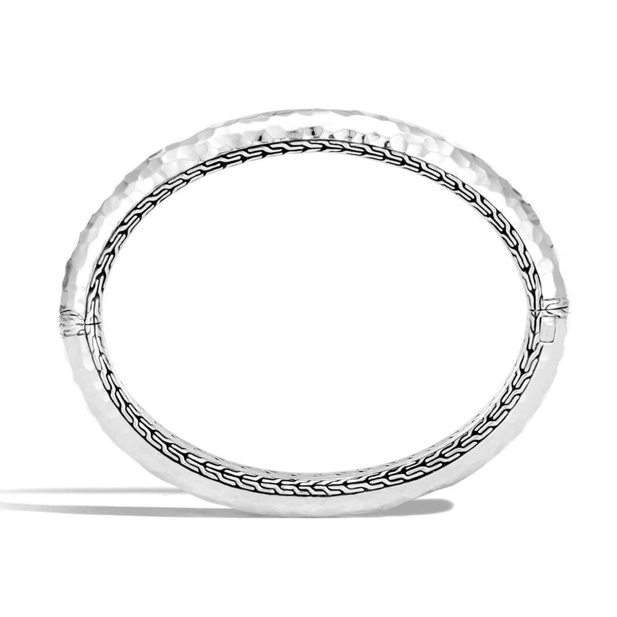 Classic Chain Hammered Silver Bangle - BB999573-John Hardy-Renee Taylor Gallery