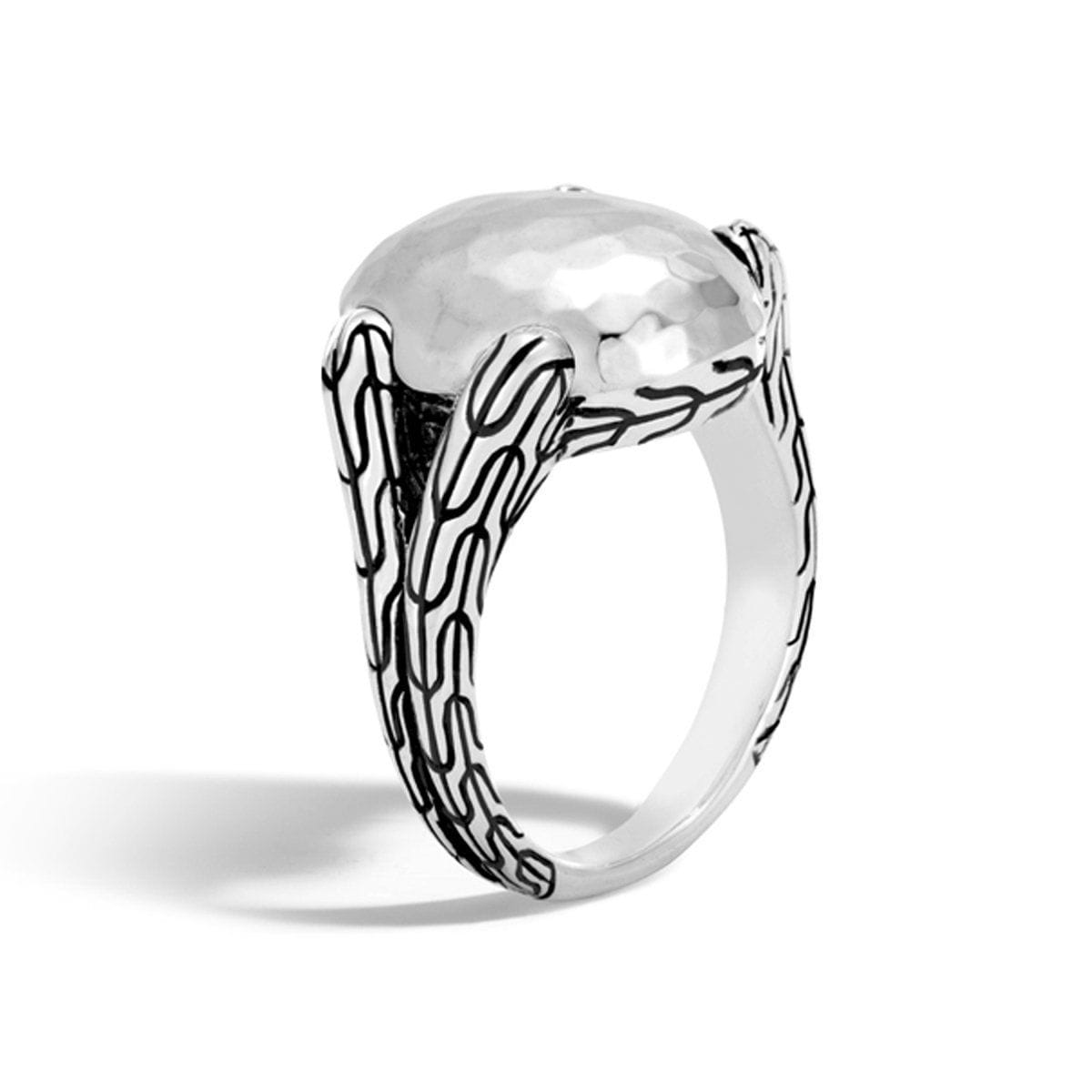 Classic Chain Hammered Sterling Silver Ring - RB999585-John Hardy-Renee Taylor Gallery