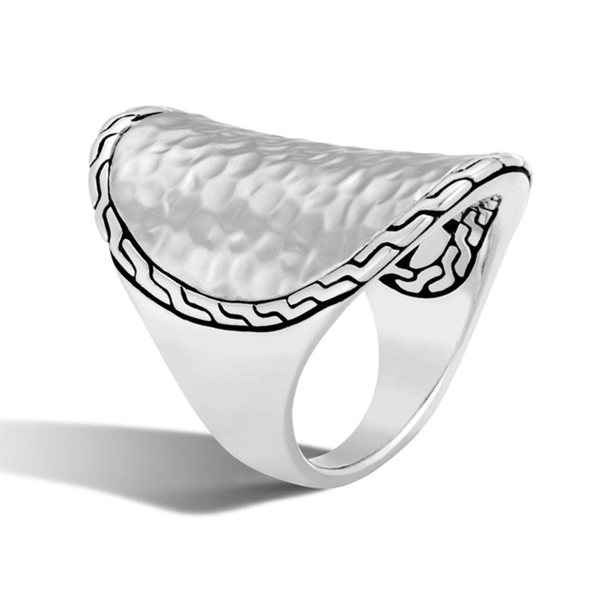 Classic Chain Hammered Sterling Silver Saddle Ring - RB96179-John Hardy-Renee Taylor Gallery