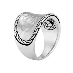 Classic Chain Hammered Sterling Small Silver Saddle Ring - RB96178-John Hardy-Renee Taylor Gallery