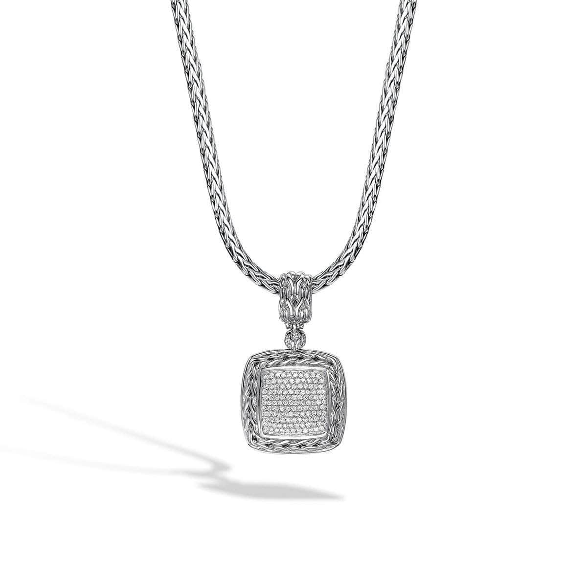 Classic Chain Silver Diamond Pave Medium Square Pendant - HBP92371DI