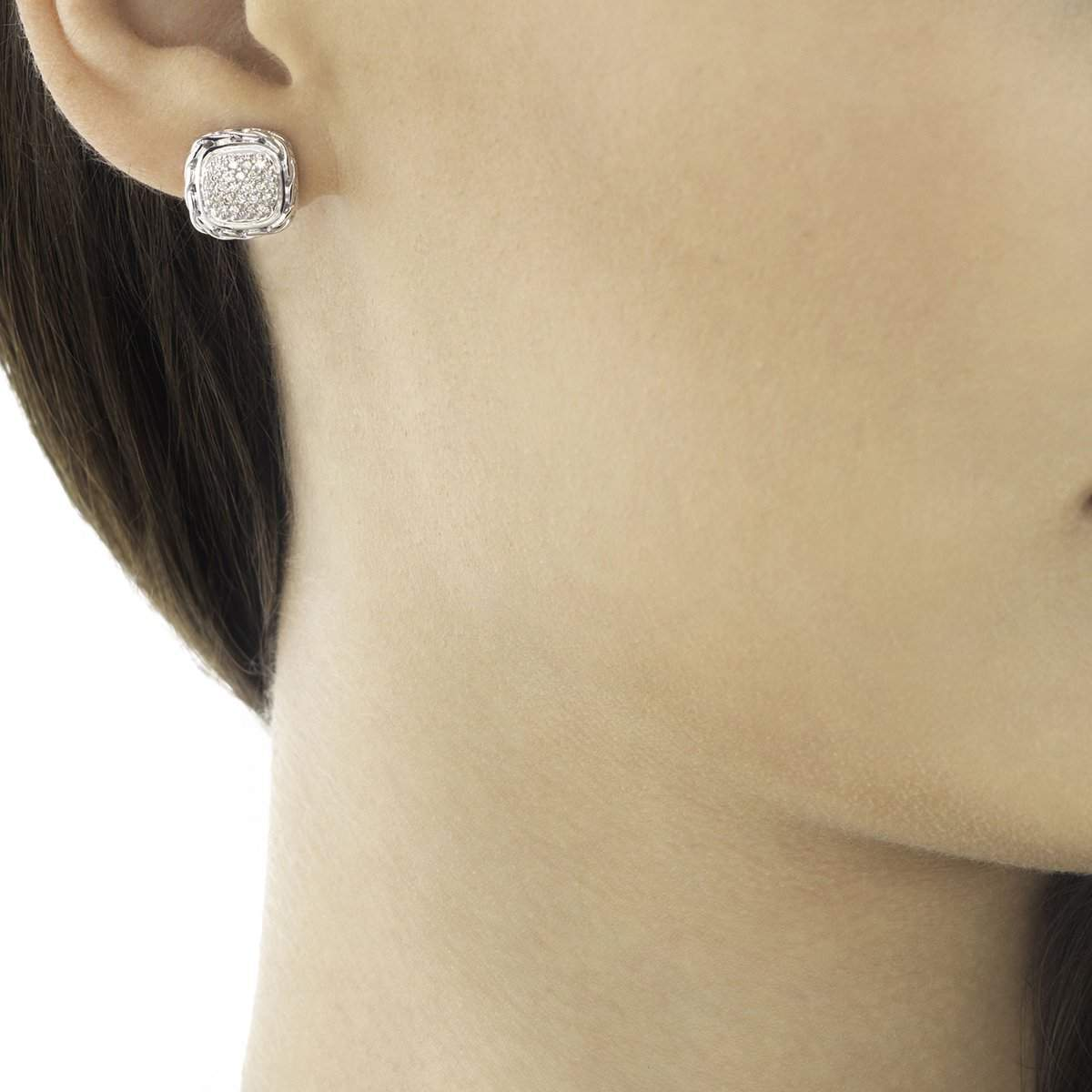 Classic Chain Silver Diamond Pave Small Square Earrings - EBP92372DI-John Hardy-Renee Taylor Gallery