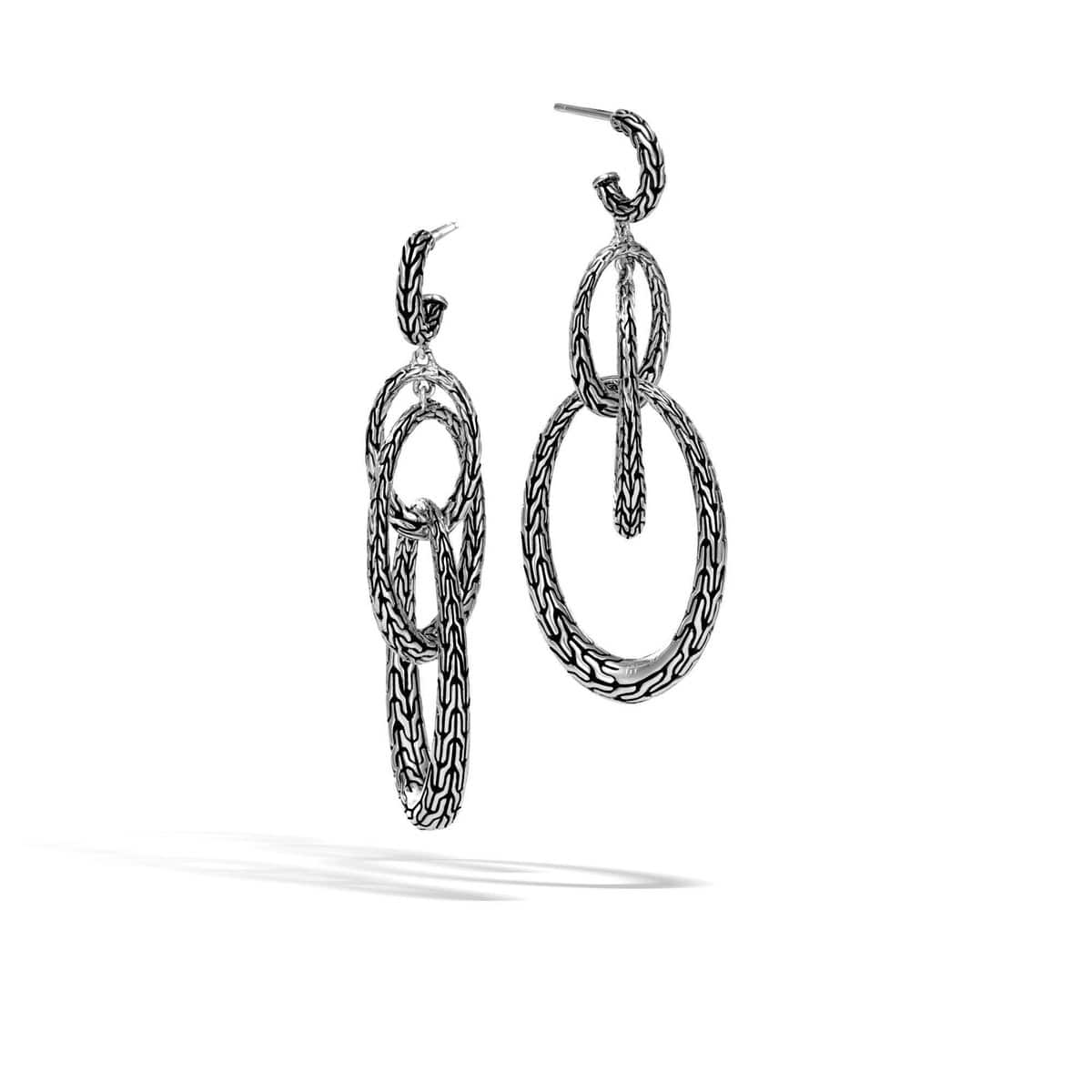 Classic Chain Silver Drop Earrings - EB999678-John Hardy-Renee Taylor Gallery