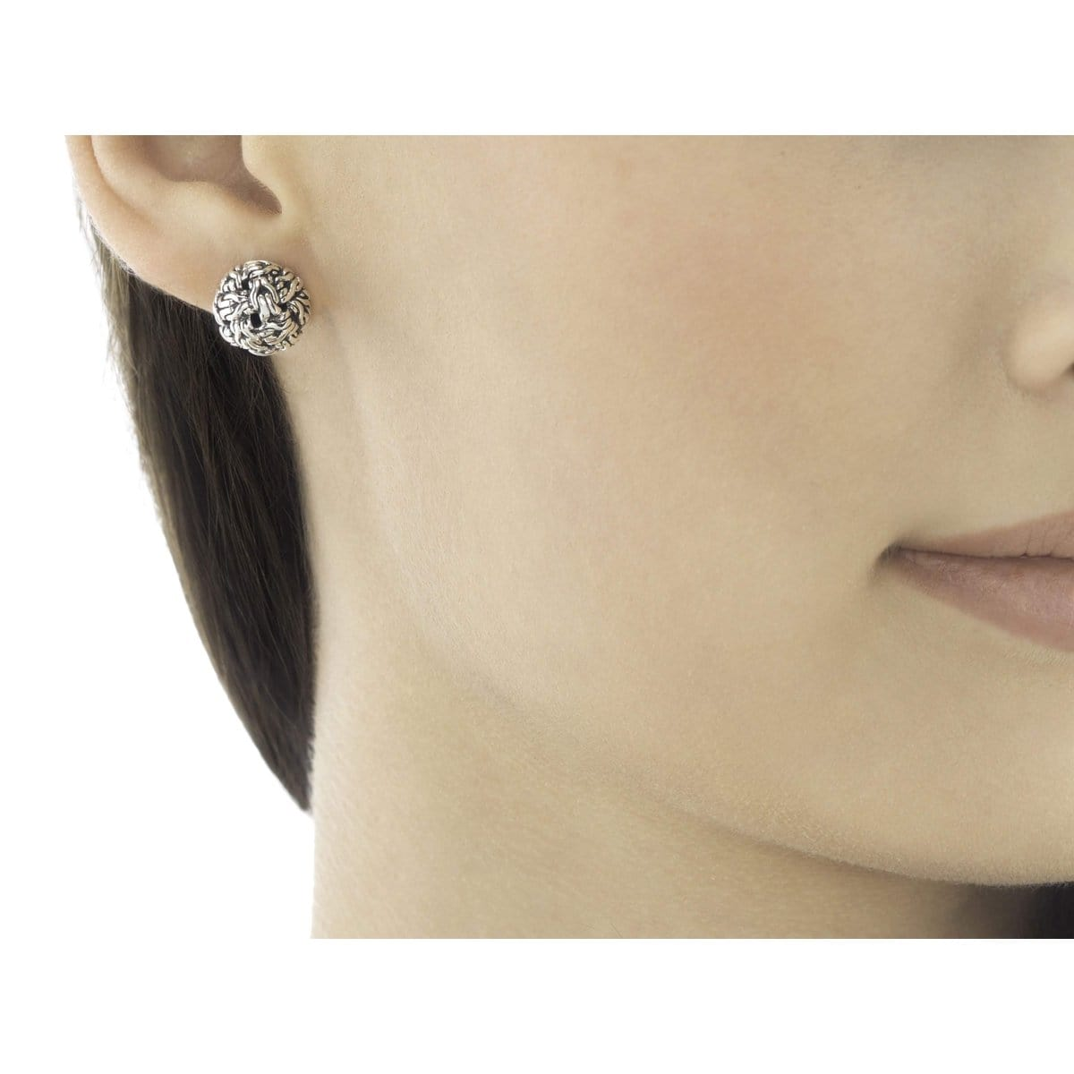 Classic Chain Silver Knot Stud Earrings - EB99282-John Hardy-Renee Taylor Gallery