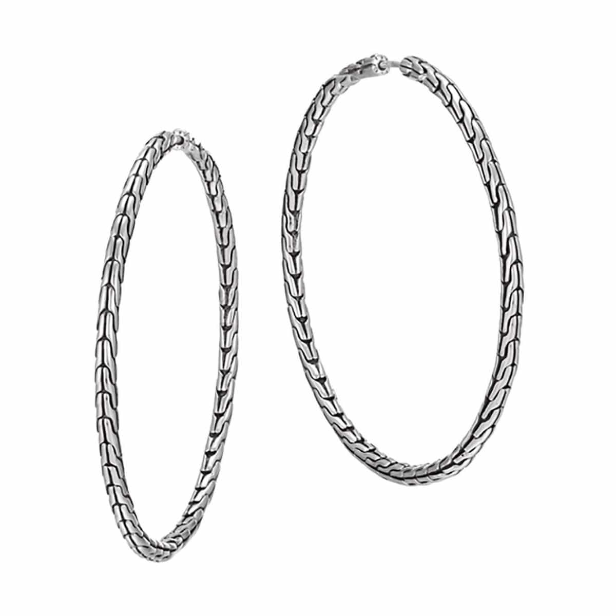 Classic Chain Silver Large Hoop Earrings - EB99254-John Hardy-Renee Taylor Gallery