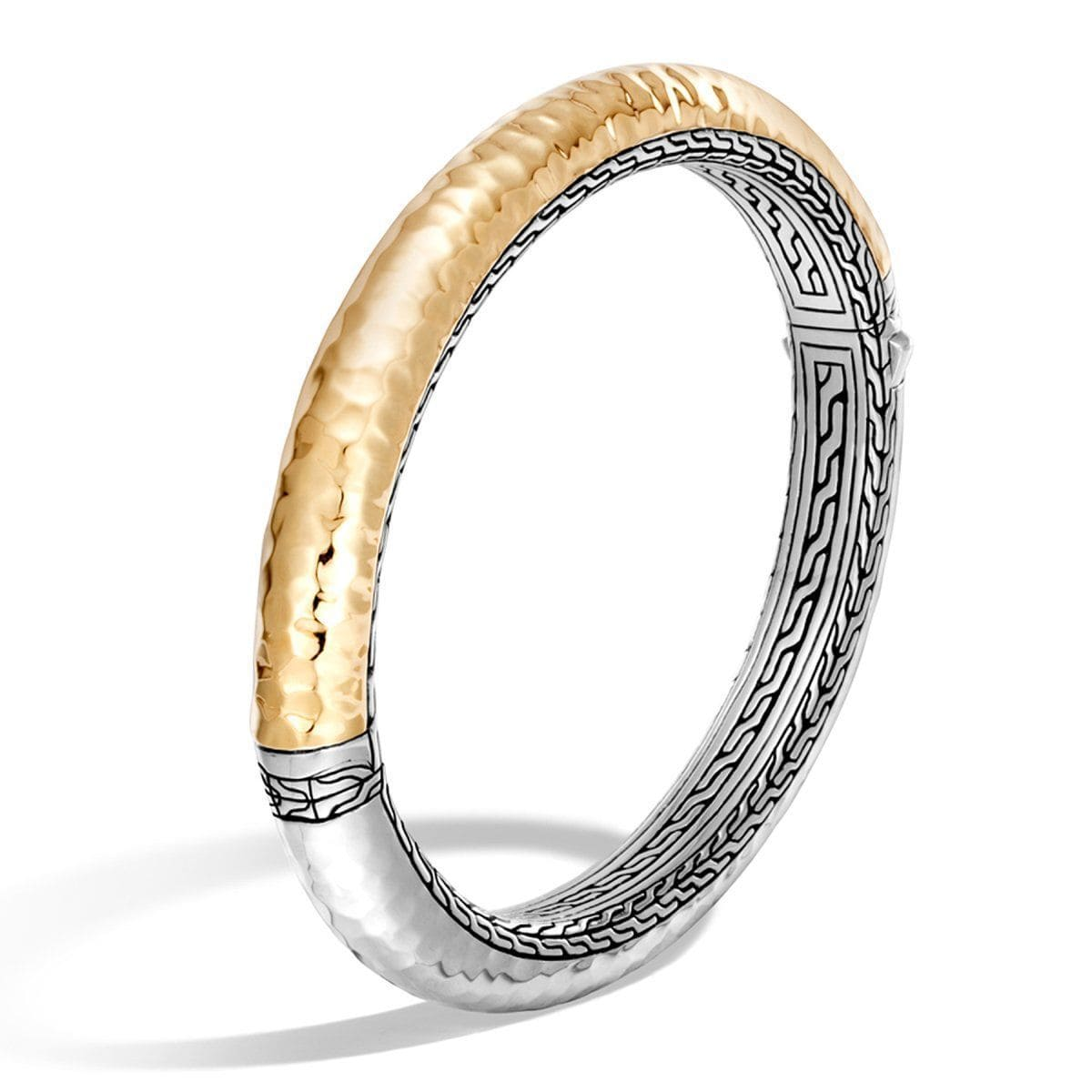 Classic Chain Sterling Silver & Bonded Gold Hinged Bangle - BZ999573-John Hardy-Renee Taylor Gallery
