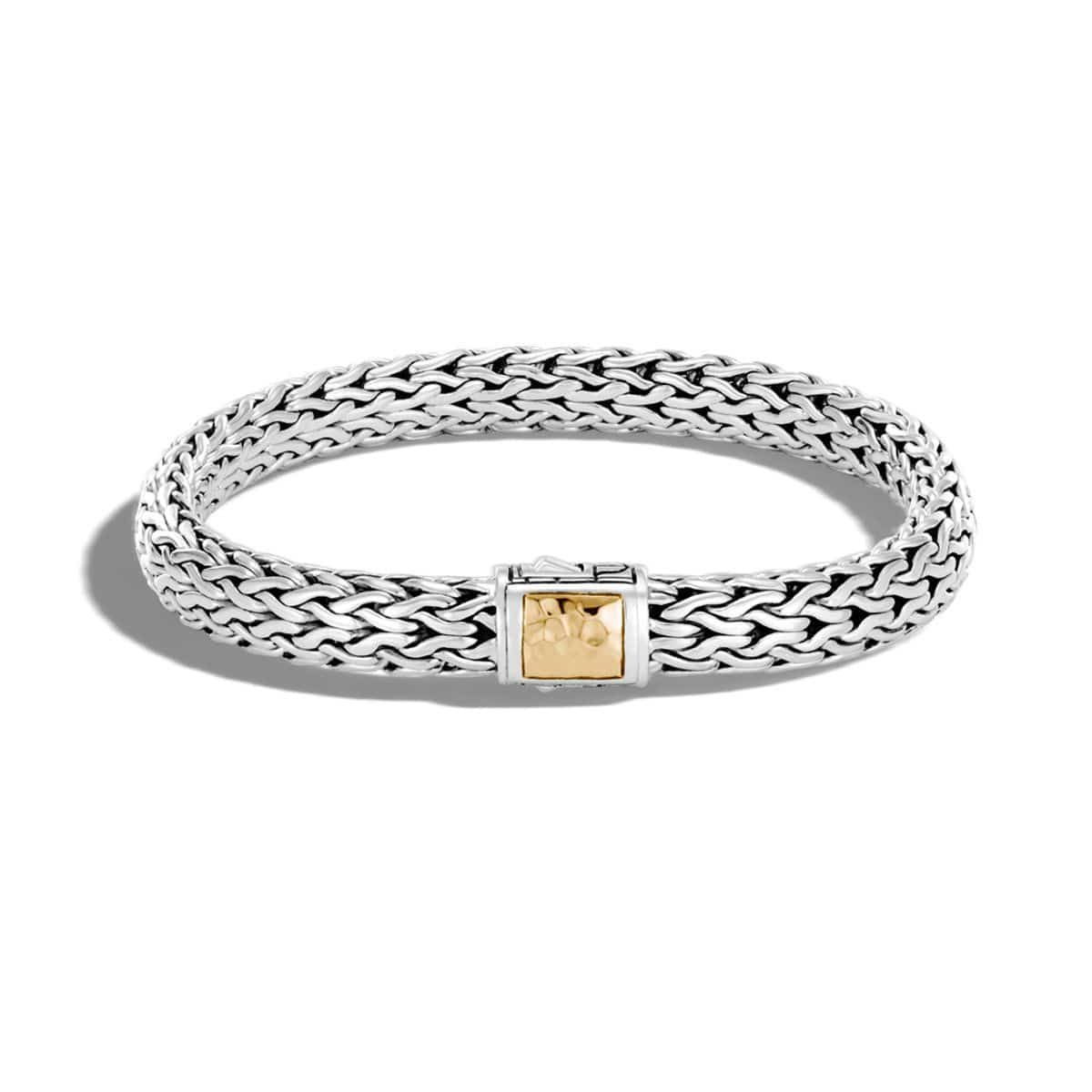 Classic Chain Sterling Silver & Hammered Gold Bracelet - BZ97113-John Hardy-Renee Taylor Gallery