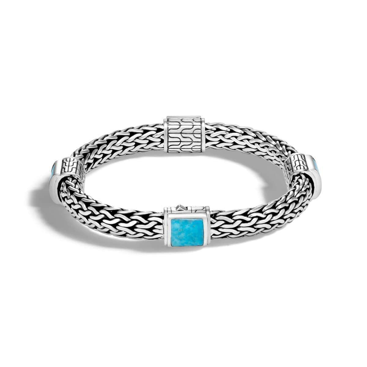 Classic Chain Silver & Turquoise Bracelet - BBS904711TQ-John Hardy-Renee Taylor Gallery