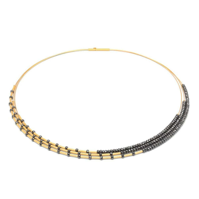 Clea Hematite Facetted Necklace - 85363206-Bernd Wolf-Renee Taylor Gallery