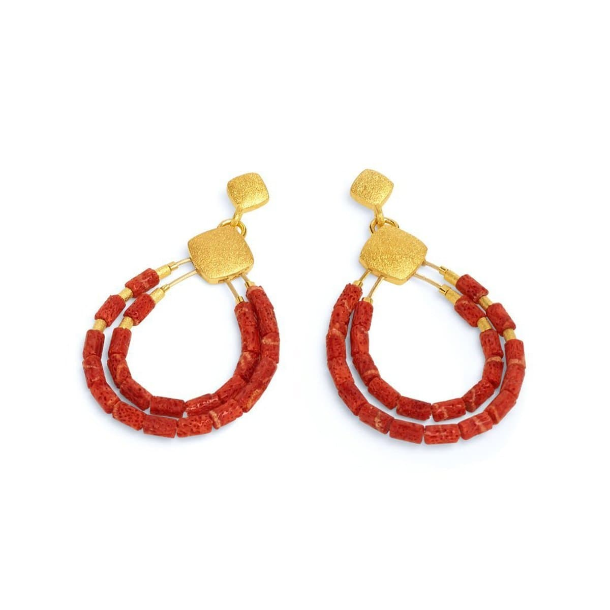 Clini Red Coral Earrings - 15576296-Bernd Wolf-Renee Taylor Gallery