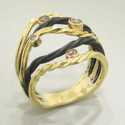 Clover Gold Diamond & Cobalt Chromium Ring - 44R1-1-3GS-YG/ST-Sarah Graham-Renee Taylor Gallery