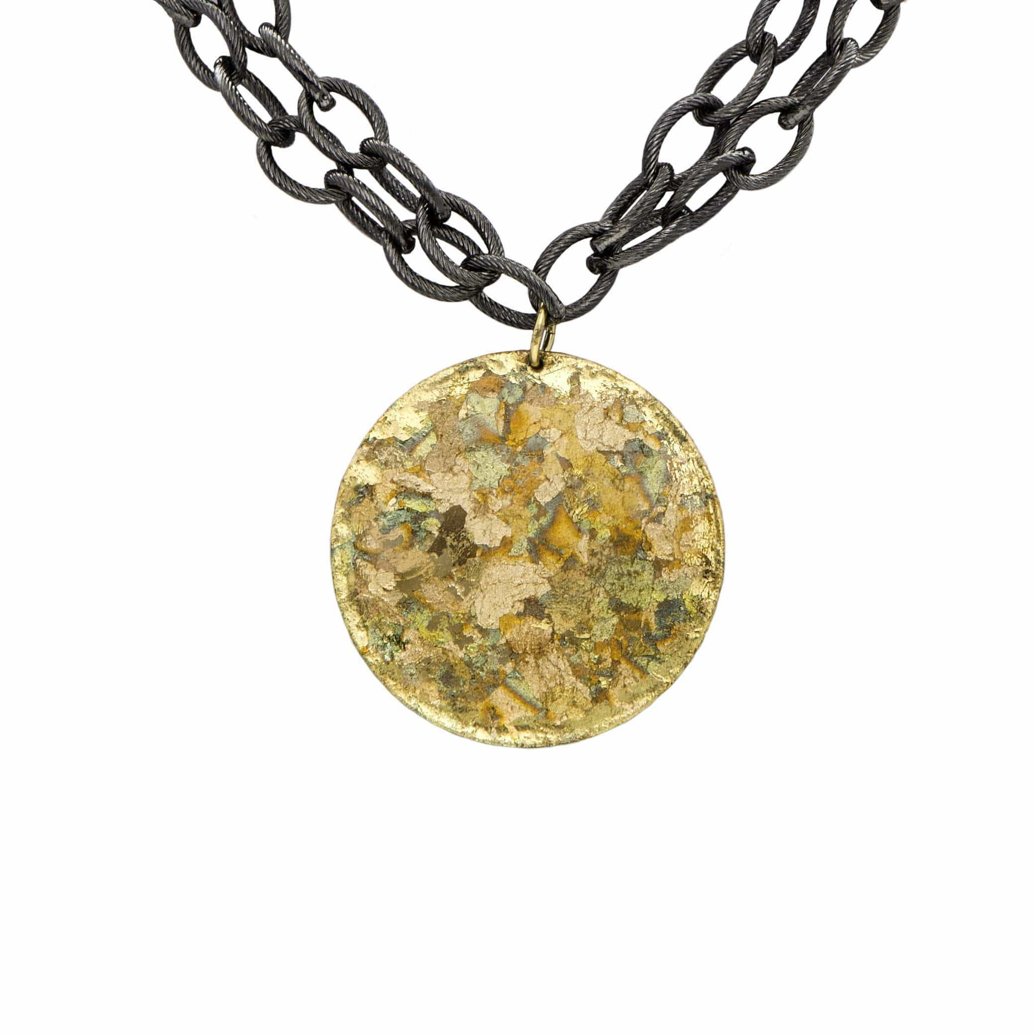Confetti Disc Pendant with Gunmetal Chain - VO257-Evocateur-Renee Taylor Gallery