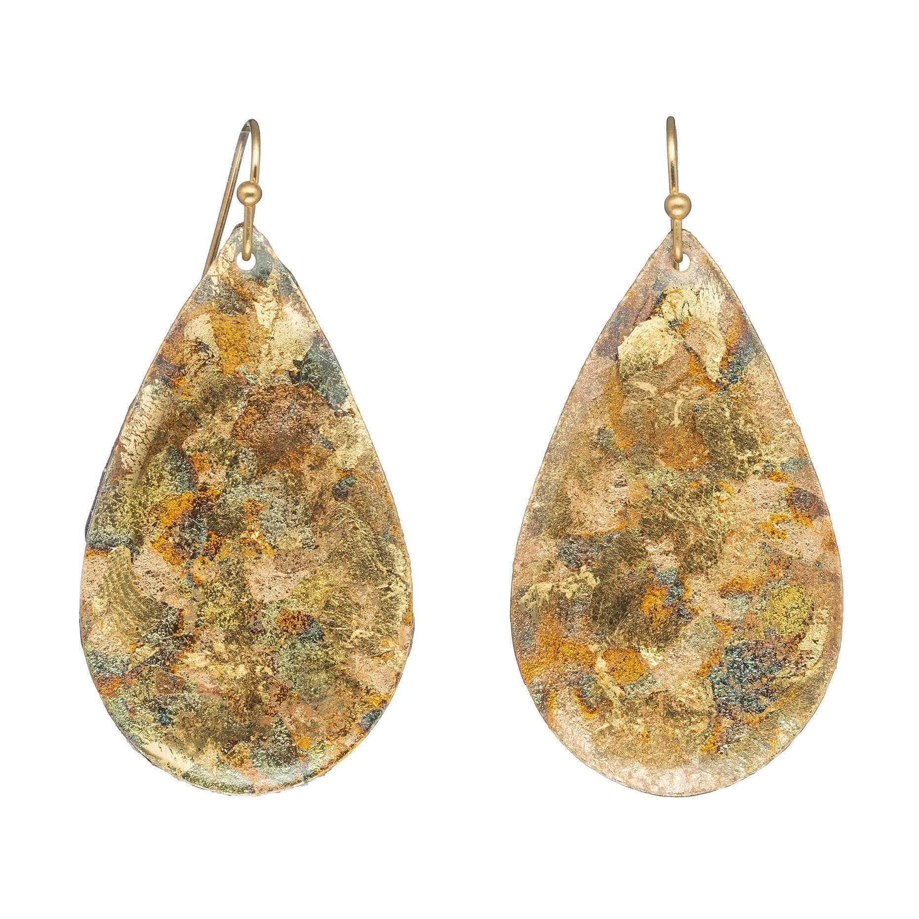 Confetti Medium Teardrop Gold Earrings - AC446-Evocateur-Renee Taylor Gallery