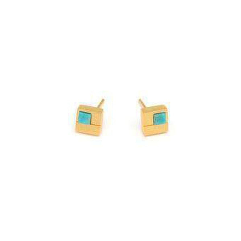 Cubio Turquoise Earrings - 19242256-Bernd Wolf-Renee Taylor Gallery