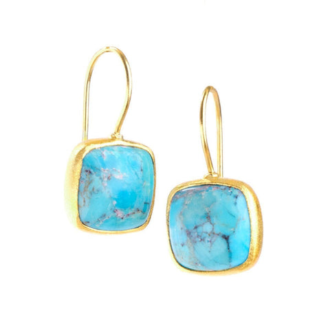 Dharma 22k Gold Plated with Turquoise Earrings - G7015E-TRQ-Nina Nguyen-Renee Taylor Gallery