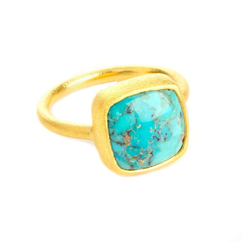 Dharma 22k Gold Plated with Turquoise Ring - G7015R-TRQ-Nina Nguyen-Renee Taylor Gallery