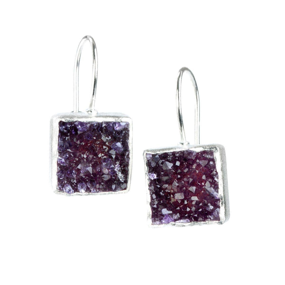 Dharma Sterling Silver with Amethyst Druzy Earrings - S7015E-AMT-Nina Nguyen-Renee Taylor Gallery