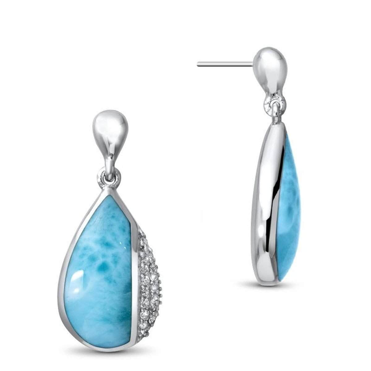 Divine Earrings - Edivi00-00-Marahlago Larimar-Renee Taylor Gallery