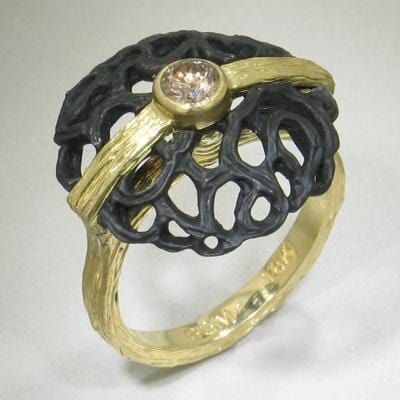 Dome Circle Diamond Gold & Steel Ring - 40R8-1-3GS-YG/ST-Sarah Graham-Renee Taylor Gallery