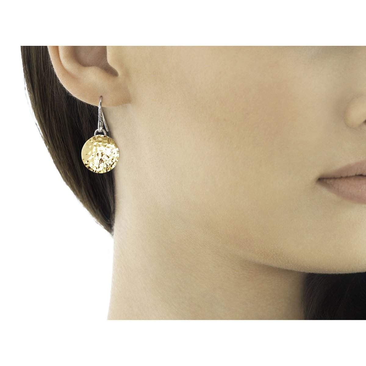 Dot Hammered Gold Silver Round Drop Earrings - EZ7154-John Hardy-Renee Taylor Gallery