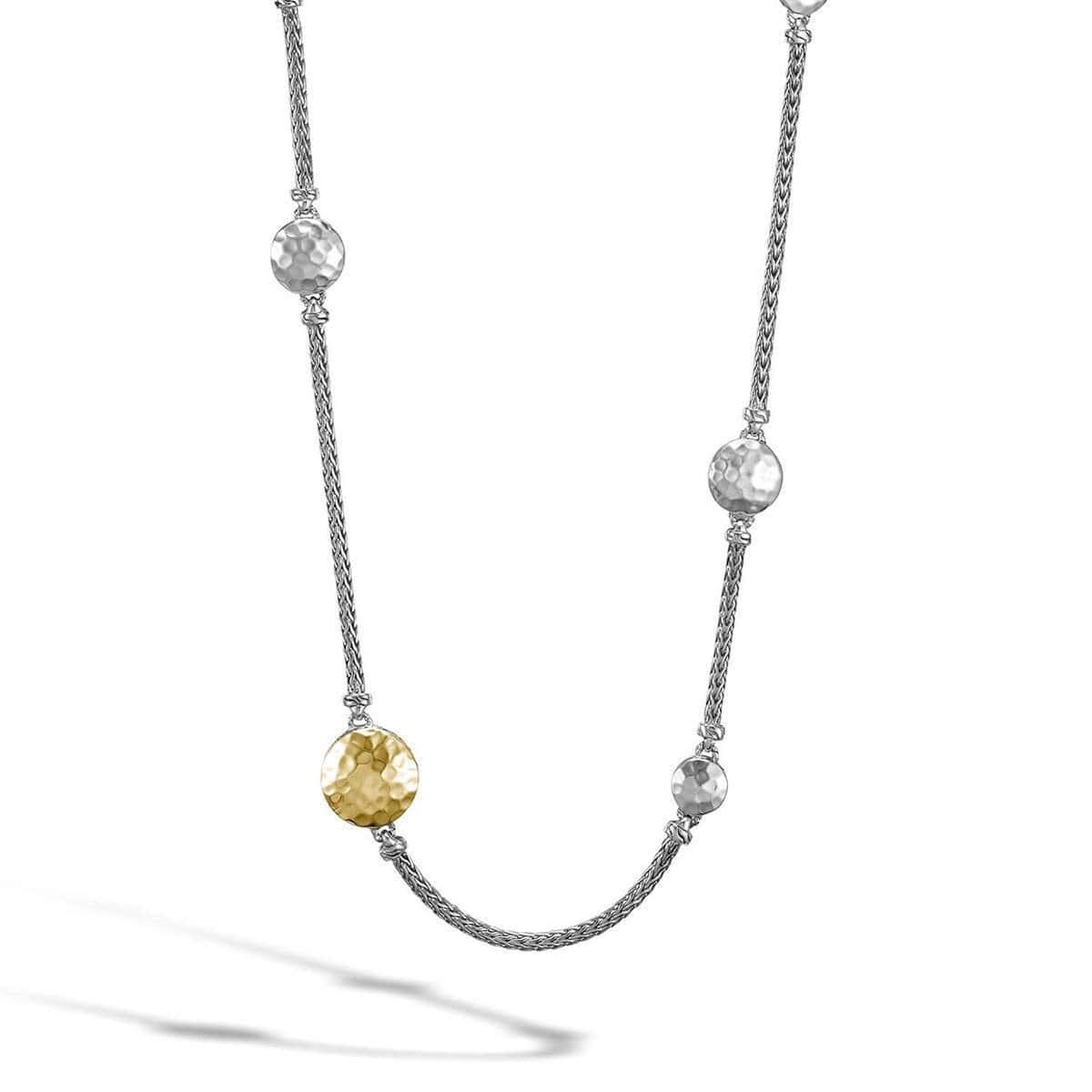 Dot Hammered Gold Silver Station Sautoir Necklace - NZ7161-John Hardy-Renee Taylor Gallery