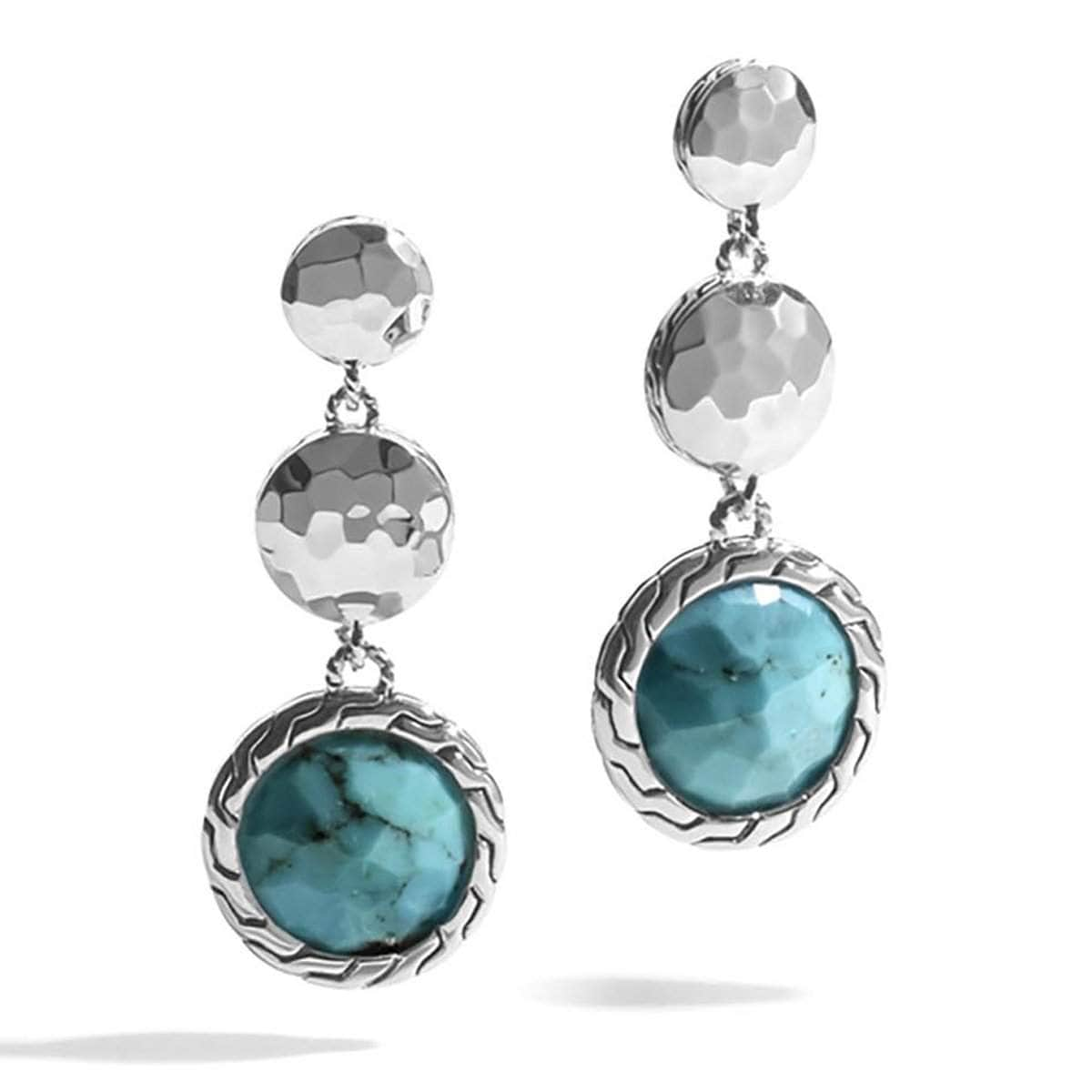 Dot Hammered Silver Triple Drop Turquoise Earrings - EBS72371TQBMA