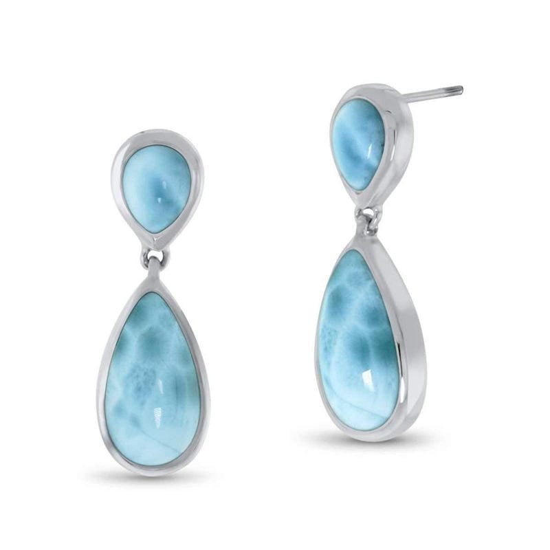 Basic Double Pear Earrings - Ebasi09-00-Marahlago Larimar-Renee Taylor Gallery