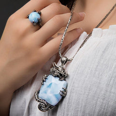 Wildlife Dragon Necklace - Ndrgn00-00-Marahlago Larimar-Renee Taylor Gallery