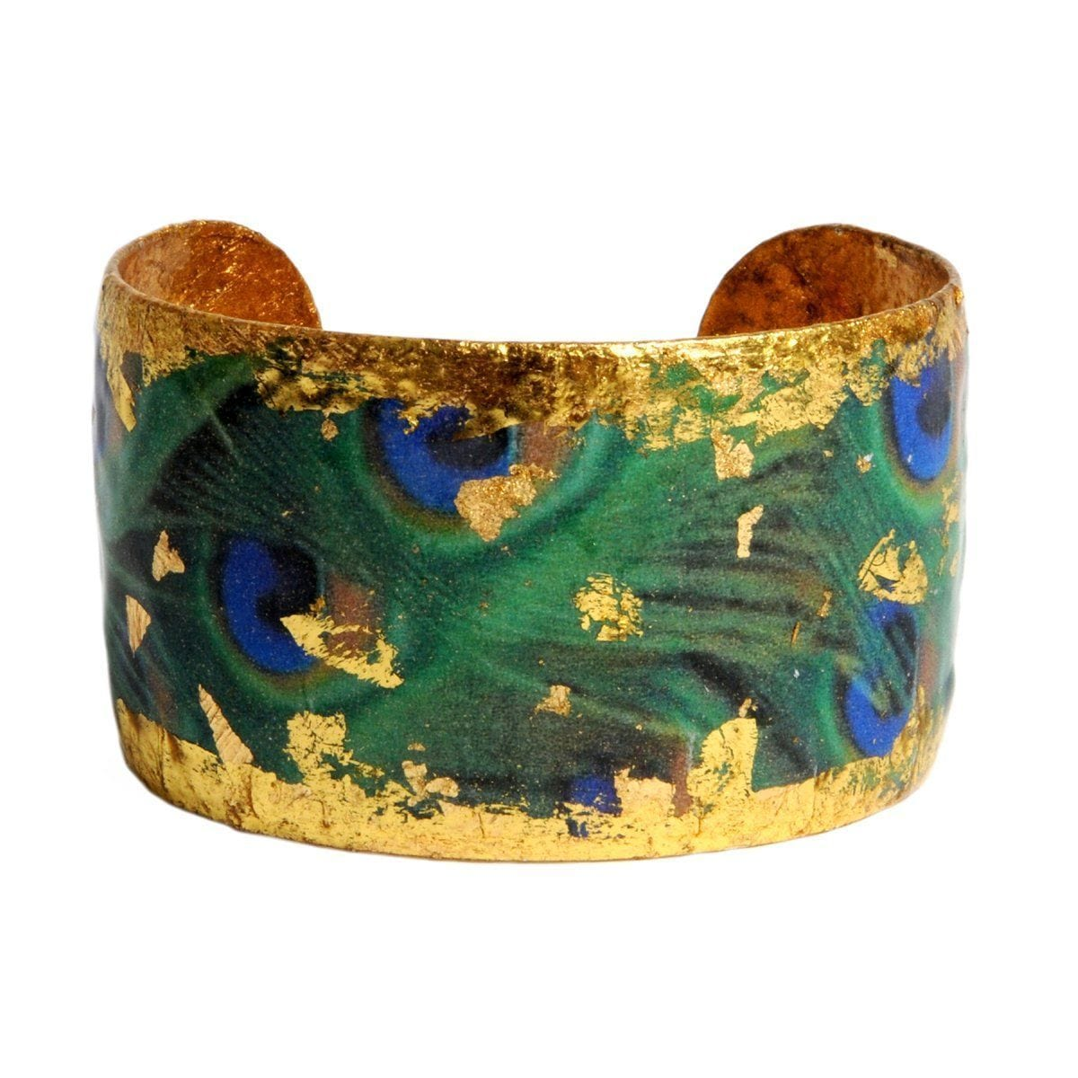 "Dreamy Peacock 1.5"" Gold Cuff - GN112-Evocateur-Renee Taylor Gallery"