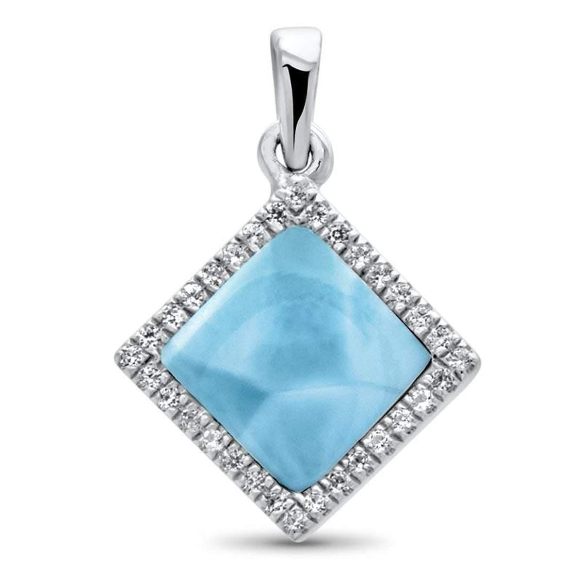 Echo Square White Sapphire Necklace - Necho03-00-Marahlago Larimar-Renee Taylor Gallery