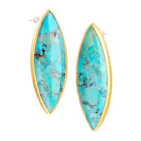 Enlightened 22k Gold Plated with Turquoise Earrings - G7007E-TRQ-Nina Nguyen-Renee Taylor Gallery