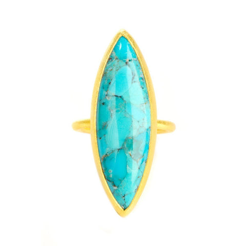 Enlightened 22k Gold Plated with Turquoise Ring - G7007R-TRQ-Nina Nguyen-Renee Taylor Gallery
