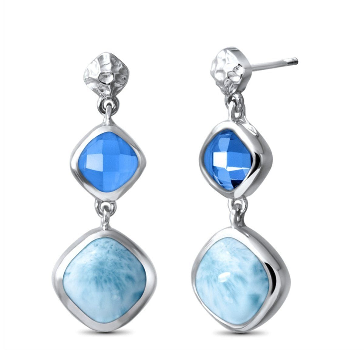 Faceta Blue Topaz Earrings - Eface00-00-Marahlago Larimar-Renee Taylor Gallery