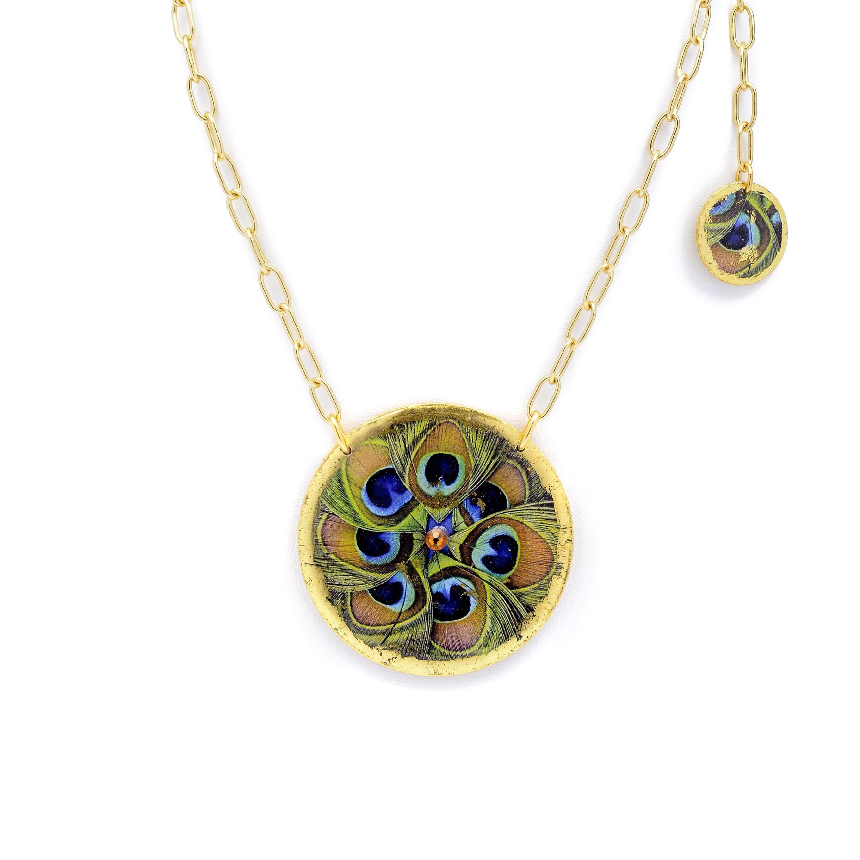 "Feathered Peacock 17"" Gold Pendant - GN211-Evocateur-Renee Taylor Gallery"