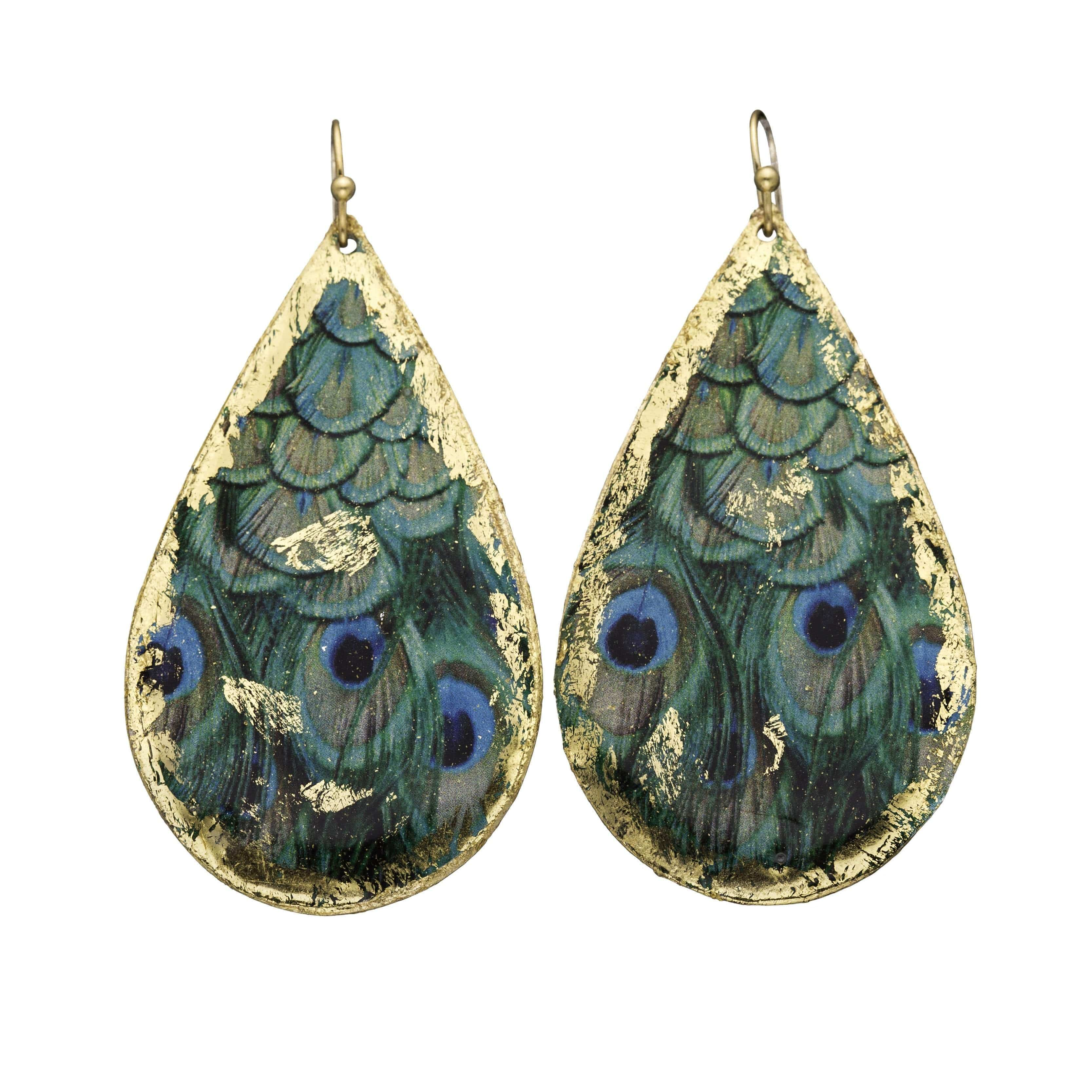 Feathered Peacock Gold Teardrop Earrings - GN408-Evocateur-Renee Taylor Gallery
